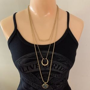 Lucky Brand Gold Triple Layer Bohemian Necklace
